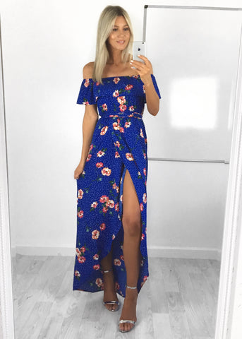 Eve Ruffle Bardot Maxi Dress
