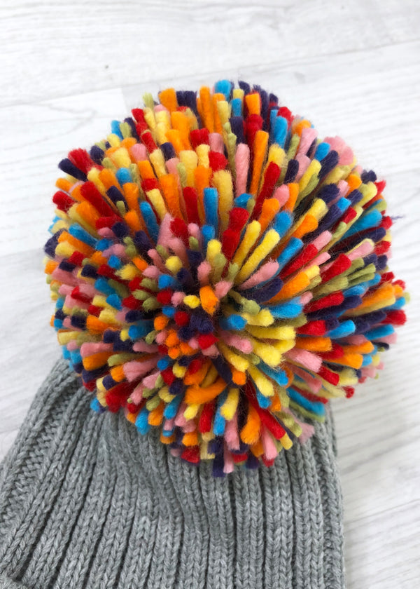 Lulu Multi Coloured Pom Pom Hat