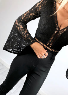 Marni Fluted Sleeve Crochet Lace Bodysuit