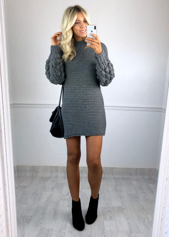 Crystal Chunky Knit Jumper Dress - Grey