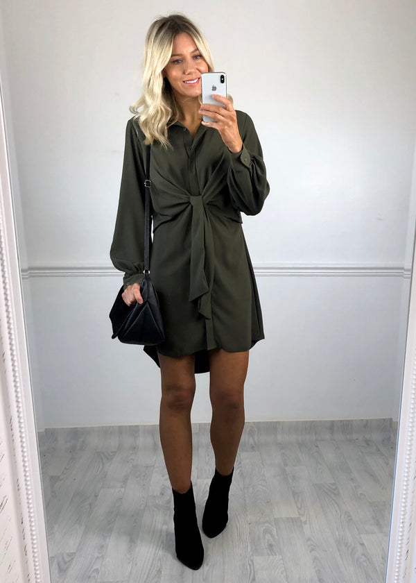 Caitlin Khaki Shirt Tie Dress