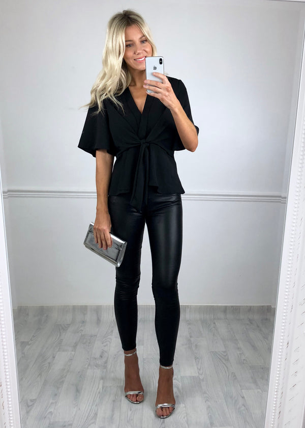 Hannah Flared Sleeve Top - Black