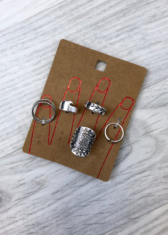 Pack of 5 Rings - Festival Style Silver