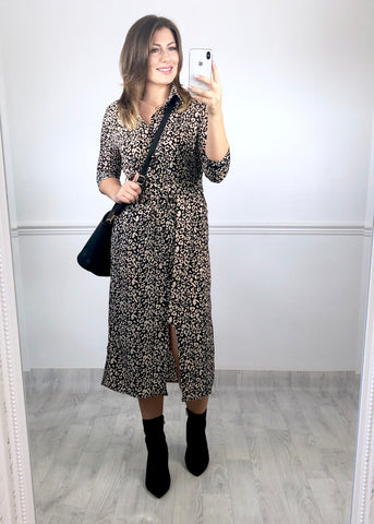 Aspen Leopard Print Shirt Dress