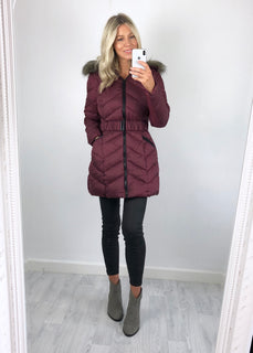 Urban Bliss - Rosanna Longline Padded Coat - Berry