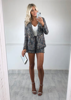 Kristen Silver Speckle Tweed Shorts