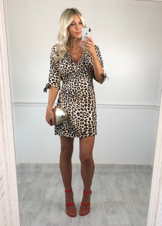 Evelyn Leopard Print Button Dress