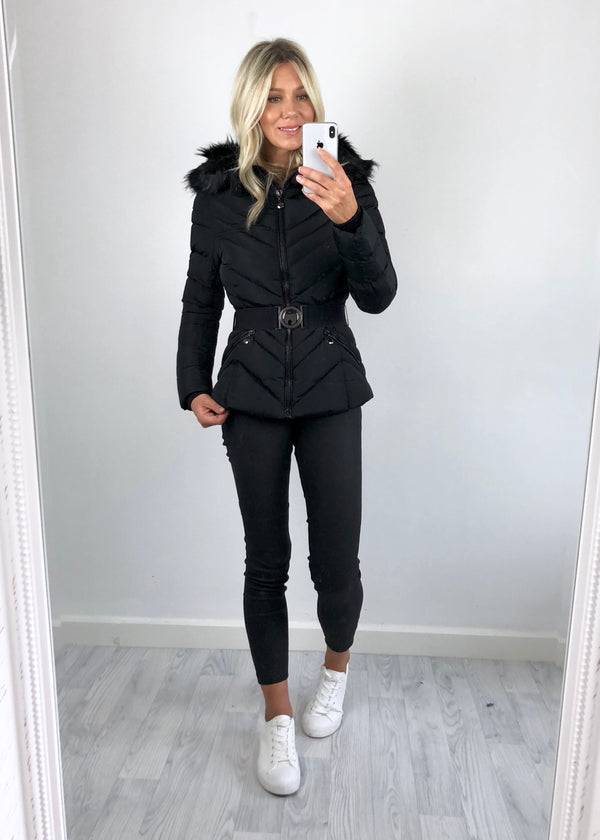 Jay Padded Belted Coat - Black