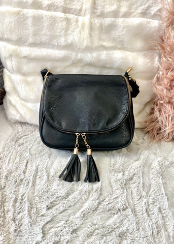 Estella Black Shoulder / Cross Body Bag - Black