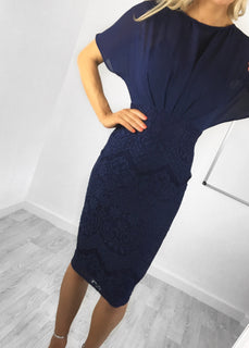 Emily Navy Crochet Lace & Chiffon Midi Dress