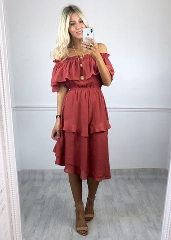 Indiana Bardot Dress - Rust