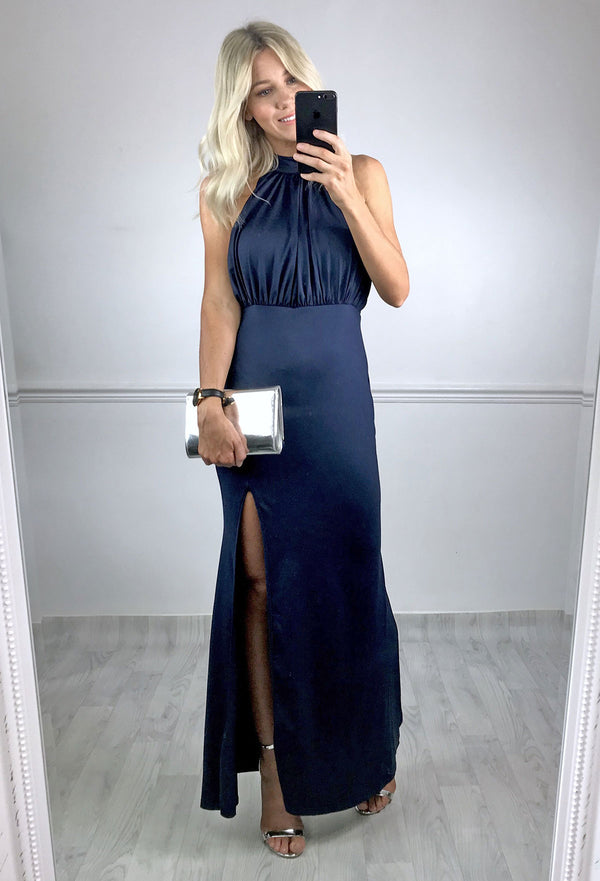 Sansa High Neck Split Maxi Dress - Navy