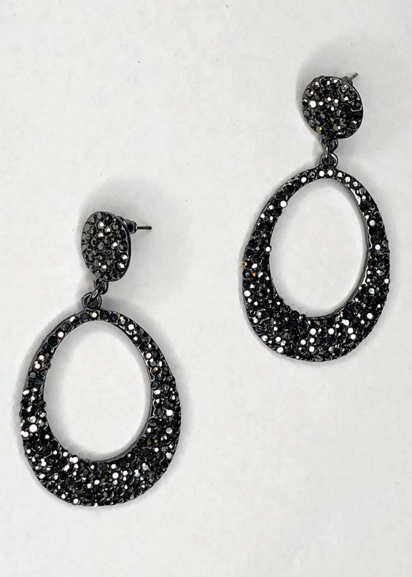 Black Diamante Oval Earrings