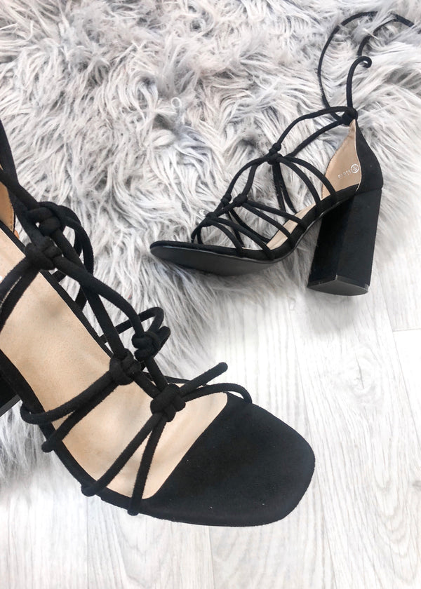 Delphine Strappy Sandals - Black Suede