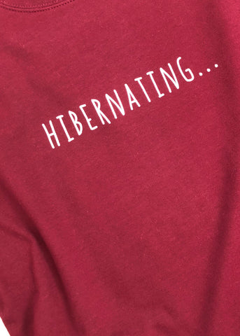 'Hibernating' Longline Sweatshirt - Wine