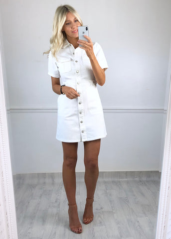 Havana Cargo Dress - White