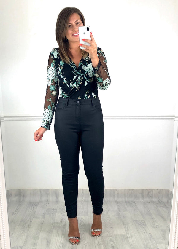 Georgina Sequin Bodysuit - Green Floral