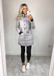 Jude Longline Padded Coat - Grey