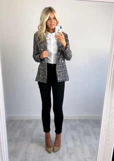 Kristen Silver Speckle Tweed Jacket