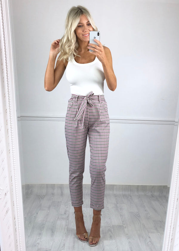 Kiki Check Trousers - Pink