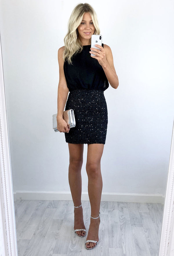 Miranda Sequin & Chiffon Dress - Black