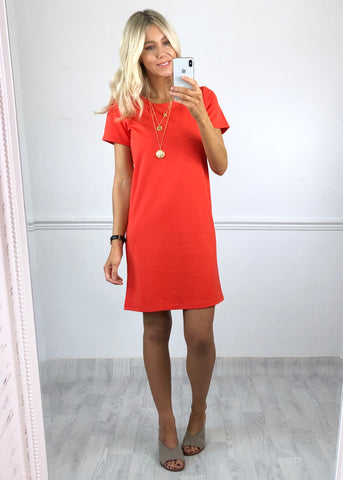 Ichi Shift Dress - Coral