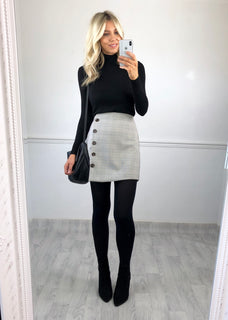 Eden Buttoned Check Skirt