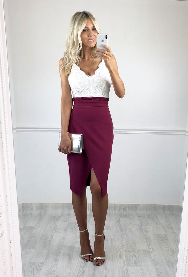 Lillie Pleat Waist Tulip Skirt - Magenta