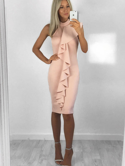 Reese Waterfall Midi Dress - Pink