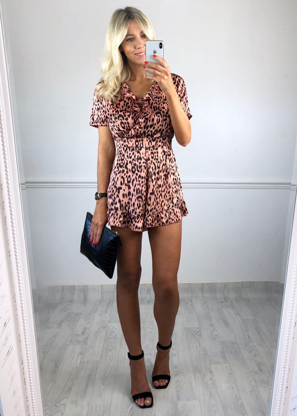 Candy Leopard Playsuit - Coral