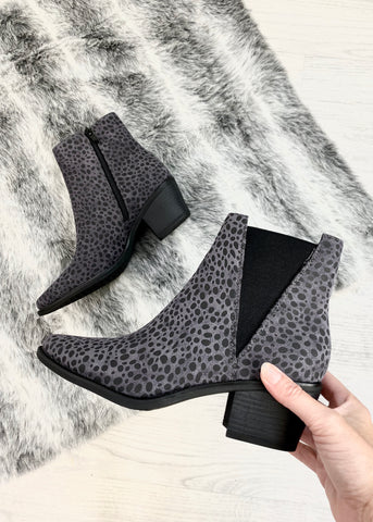 Fauna Leopard Print Ankle Boots - Grey