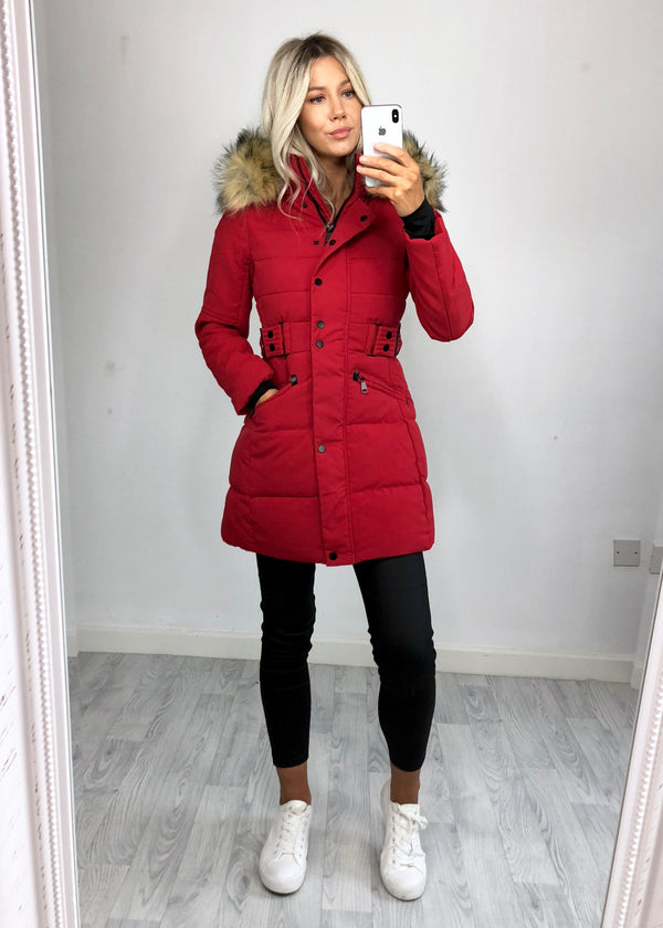 Jude Longline Padded Coat - Red