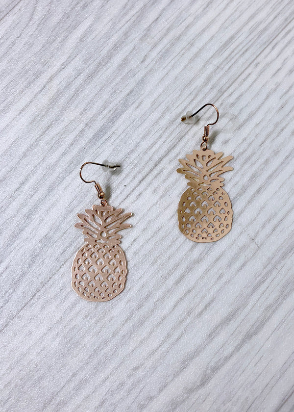 Pineapple Earrings - Rose Gold