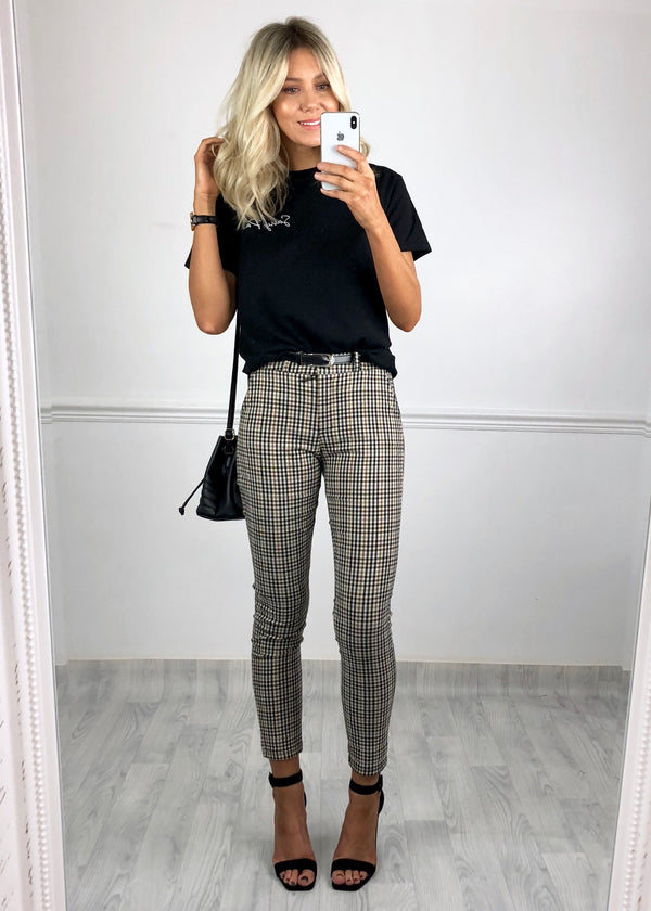 Rachel Check Trousers - Beige