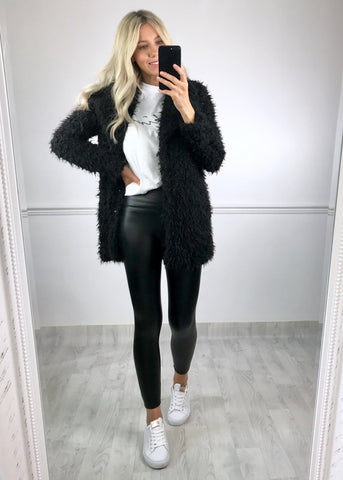 Theadore Faux Fur Coat - Black