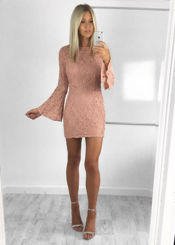 Arabella Textured Lace Dress - Dusty Pink