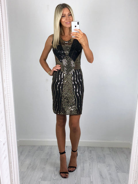 Claudia Gold & Black Sequin Dress