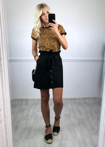 Kari Leopard Print T-shirt - Yellow