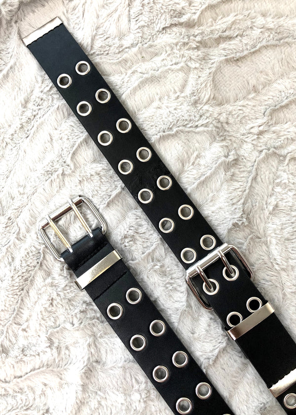 Eyelet Double Buckle Belt - Black