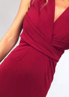 Erin Pleat Detail Midi Dress - Wine