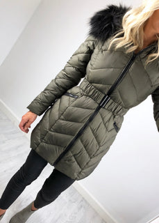 Urban Bliss - Rosanna Longline Padded Coat - Khaki