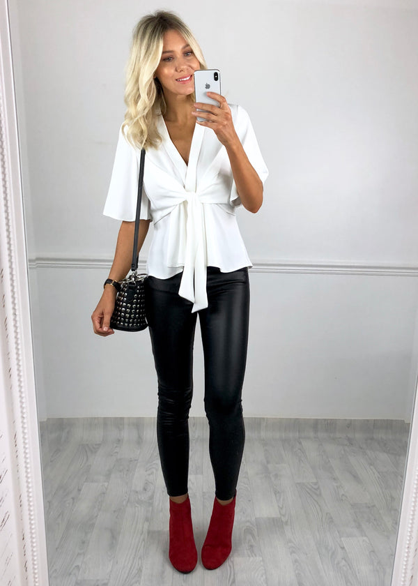 Hannah Flared Sleeve Top - Ivory