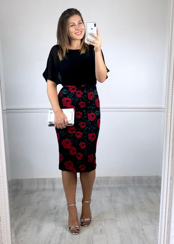 Emily Lace Midi Dress - Black Rose