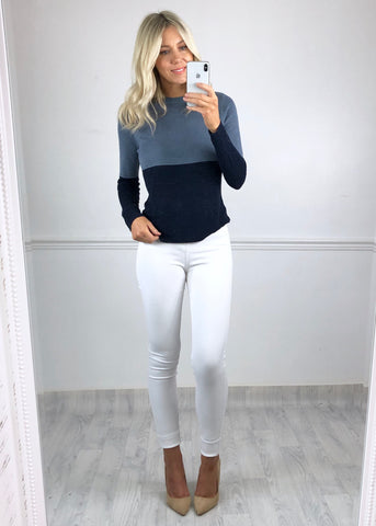Irillo Navy/Grey Ribbed Jumper