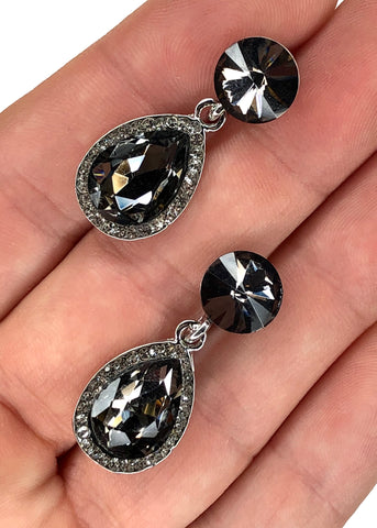 Stone and Diamante Drop Earring - Black
