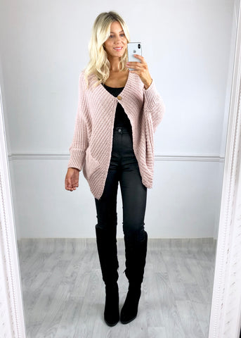 Beth Button Batwing Cardigan - Pink