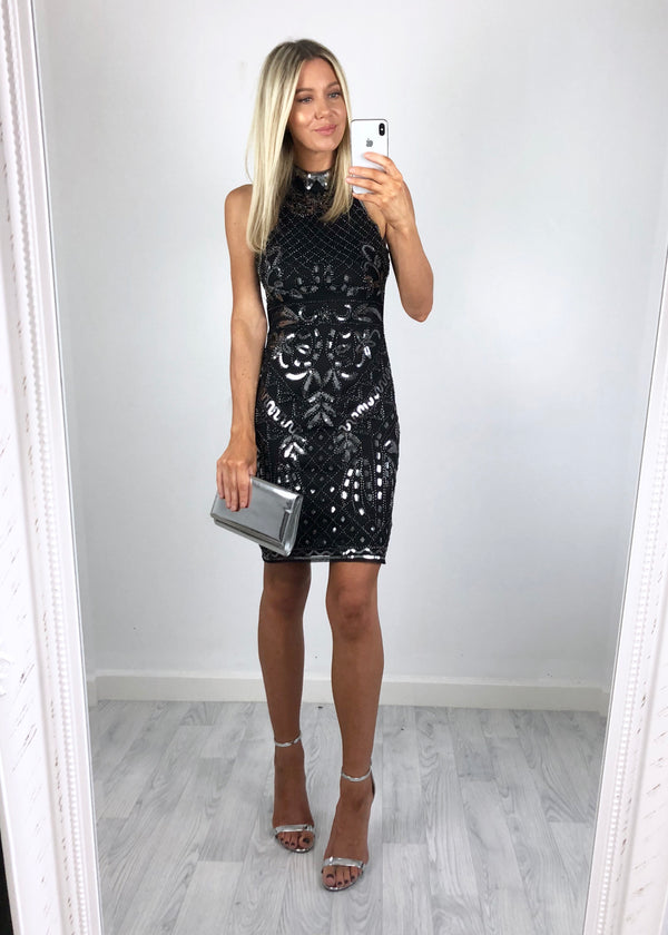 Adrianna High-Neck Sequin Dress - Black