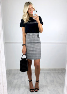 Sally Check Skirt - Black and White