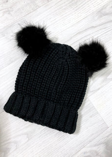 Ella Double Pom Hat - Black