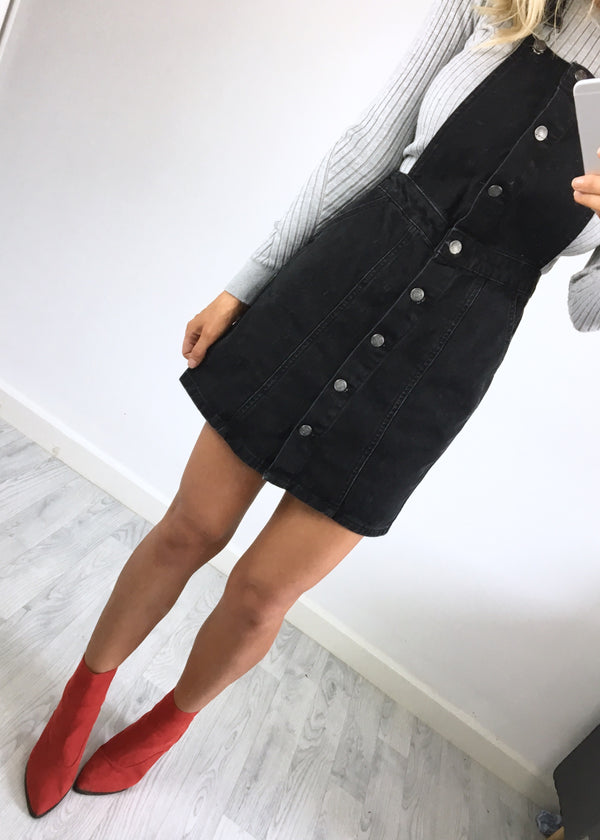 Urban Bliss Tamala Denim Pinafore Dress - Black Wash